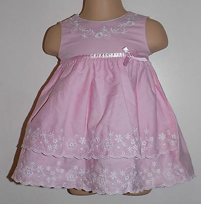 Stunning Baby Dress Pink With White Embroidery By George 0-3 Months