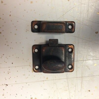 Vintage Cabinet Latch Cupboard Door Keeper Brass/Copper Colored Lock w/ Keeper