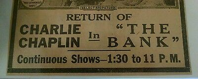 "1919  ad silent film CHARLIE CHAPLIN ""The Bank"""
