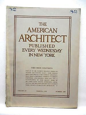 AMERICAN ARCHITECT 3/6 1912 Trade Journal Architecture Stained & Painted Glass
