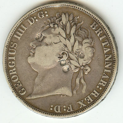 Uk 1821 George Iv Crown Secundo Vf (Punched)!!! Silver Crown!!!