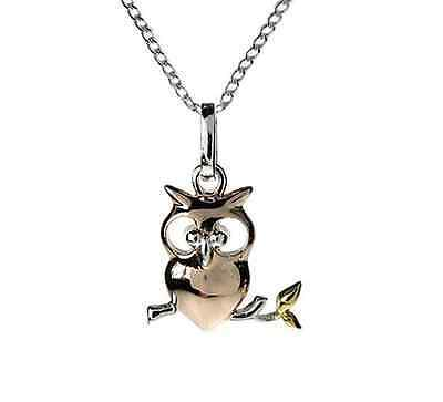 Quality Sterling Silver 925 Yellow &Rose Gold Perched Owl Pendant Necklace Boxed