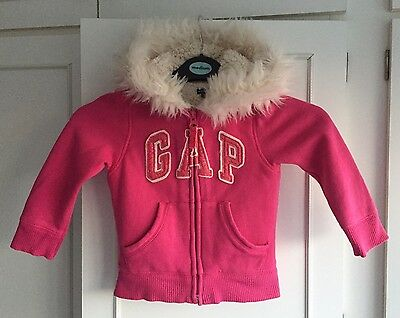 GAP Baby Girls Hot Pink Hoodie Zip Up Thick Jacket With Fur Hood Age 2 Years