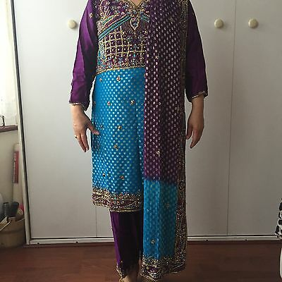 New Ladies Turquoise & Blue Gold Sequence Banarsi Salwar Kameez Size 12 Meduim