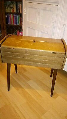 Vintage retro sewing box with legs