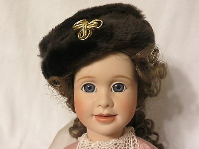 "Adorable Unbranded doll hat - brown ""fur"" with gold braid"