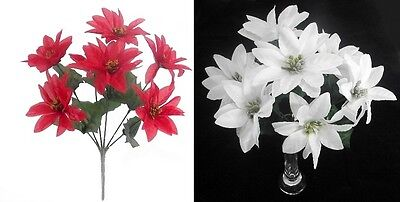 35cm POINSETTIA Flower Bouquet RED or WHITE Christmas Ivy Fern Festive 7 Heads