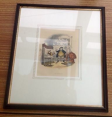 Framed Signed Etching By Phiz Of Pickwick Papers C. 1850 Hand Coloured