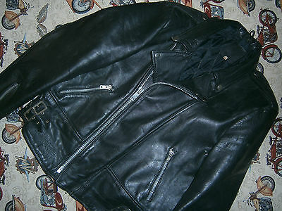 Genuine 70s Highwayman Leather Brando Rocker Motorcycle Jacket Size 42