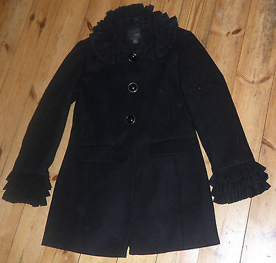 Girls Age Size 11 to 12 NEXT Black Smart Wool Coat