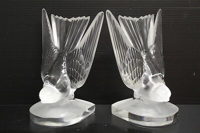 "Pair of Signed Lalique Original Frosted Sparrows Bird Bookends, 6"" Tall"