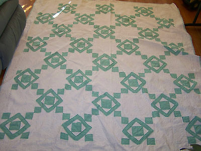 Antique quilt; green & white; lots of hand quilting; all cotton; Nice!