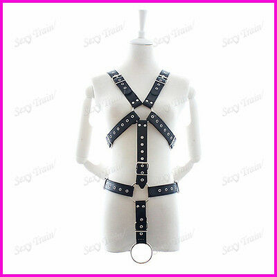 Mens Black leather chest harness full with ring clubwear dancewear party .......