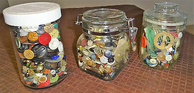 Three Large Jars of Assorted Vintage Buttons.1950's-60's.
