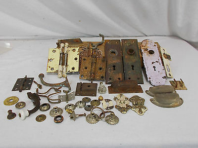Lot Of Vintage Ornate Hardware ~ Eastlake Drawer Pulls Hinges Cabinet Locks More