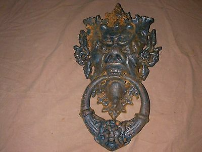 Gargoyle Door Knocker Large Devil Face Cast Iron Gothic Vintage Hardware