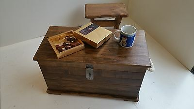 Wooden Chest Storage Vintage Style Handmade Rustic Wood Coffee Table