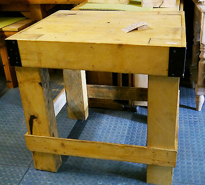 Vintage Solid Pine Topped Kitchen Island Table Butchers Block Workbench