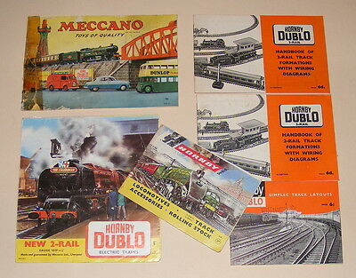 HORNBY DUBLO TRAINS & MECCANO 6 x CATALOGUES & TRACK LAYOUT HANDBOOKS VINTAGE