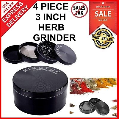 Herb Grinder 4 Piece 3 Inch Zinc Alloy Tobacco Spice Smoke Herbal Crusher