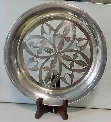 ANTIQUE BEAUTIFUL OPEN WORK CHINESE EXPORT SILVER TRAY DISH - STAMPED on BOTTOM