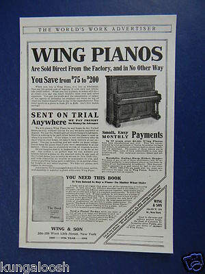 1905 Wing Pianos Are Sold Direct From The Factory Vintage Ad