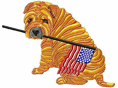 Patriotic Shar Pei with Flag Embroidery Patch