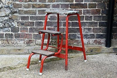Vintage antique cute battered red metal/wood stool with folding steps