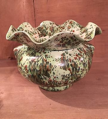Art Deco Green And Brown Spotted Splashed Pottery Vase Floral Top