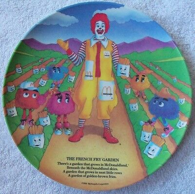 """New 1989 Ronald McDonald 9 1/2"""" (The French fry Garden) Plastic Collector plate"""