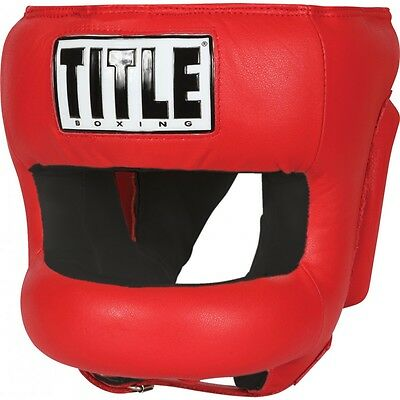 Title Boxing Face Protector Training Headgear-Red