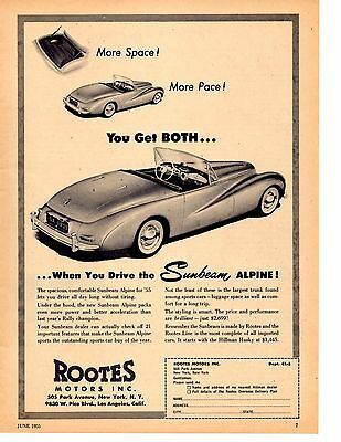 1955 Sunbeam Alpine  ~  Rare Original Print Ad