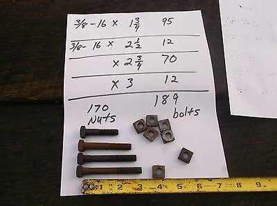 """3/8"""" - 16 X 1 3/4 - 3 """"  Square Head Bolts with Nuts  NOS HUGE LOT of 189"""