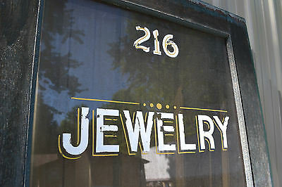 Antique Victorian Glass Exterior front Entry Wood Door Jewelery store 82 x 351/2