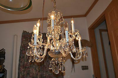 10 Arm Vtg Antique Chandelier Glass Bobeches Prisms Crystal