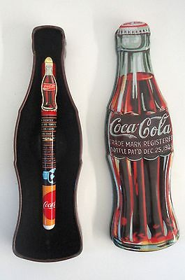 Coca Cola Tin Box 1996 with Pen inside, Classic Coke Bottle Shape Coke
