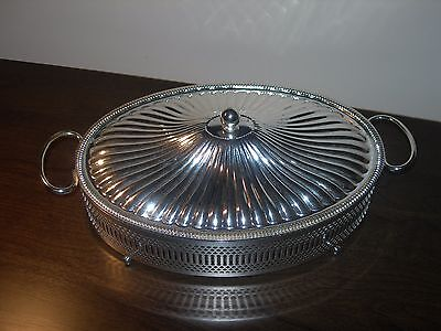 Vintage Pyrex Serving Dish With A Silver Plated Serving Stand Holder And Lid