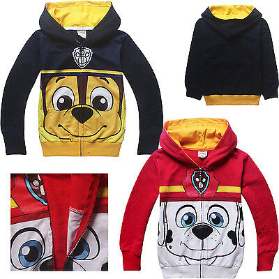 Paw Patrol cotton thin jacket zip with hoodie Marshall Chase boys girls new xmas