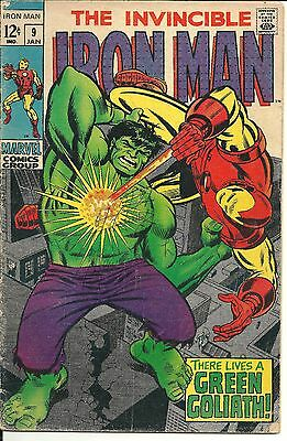 The Invincible IRON MAN #9 ~ There Lives a Green Goliath ~ HULK Marvel 1969