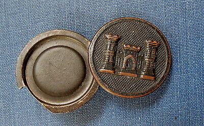 WWI ERA COLLAR DISC BUTTON with SECRET COMPARTMENT for PHOTOGRAPH - ENGINEER