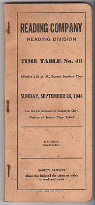 Vintage 1948 Reading Railroad Timetable No. 48 Reading Division
