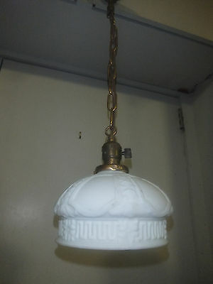 "Antique Hanging Art Deco Pendant Lamp with Glass Shade 8"" in Diameter"