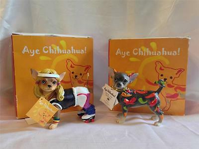 Pair of Damaged Aye Chihuahua Dog Figurines - Roller Skater & Chili Peppers