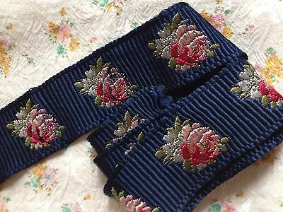 """Antique Navy Blue Millinery Roses Embroidered Adorable Ribbon, 52 x 2"""""""