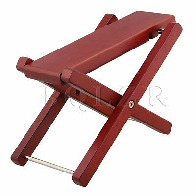 BQLZR Foldable Red Solid Wood 3-Level Height Guitar Pedal Guitar Foot Rest