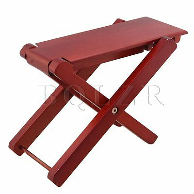 BQLZR Foldable Red Solid Wood 4-Level Height Guitar Pedal Guitar Foot Rest