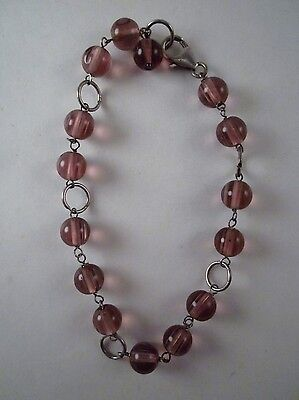 """Handcrafted Lilac Glass Bead 8.5"""" Anklet Sterling Silver Lobster Clasp"""