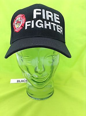 NEW Embroidered FIRE FIGHTER maltese Rescue Black Hat Cap