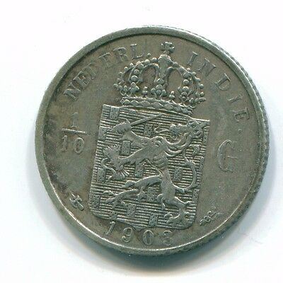1903 Netherlands East Indies 1/10 Gulden Silver Colonial Coin Nl13216#3