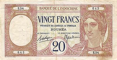 New Caledonia 20 Francs ND. 1929  P 37b  circulated Banknote